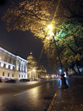 Night street in the downtown and St. Isaac`s Isaakievsky Cathedral. Russia. Petersburg Stock Photography