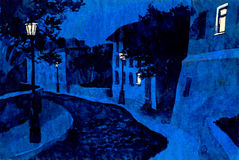 Night street. Drawing ink. Night street lights illuminate the old city Royalty Free Stock Photography