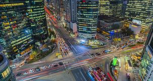 Night street at Gangnam, Seoul city, South Korea