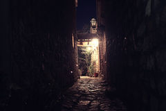 Night street i. N the old town stone fortress royalty free stock photography