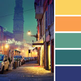 Night street in Italian town. Color palette swatches stock image