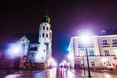 Night street in the Krakow, Poland. Royalty Free Stock Photography