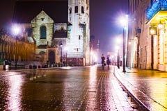 Night street in the Krakow, Poland. Stock Image