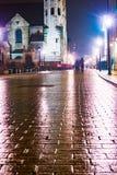 Night street in the Krakow, Poland. Royalty Free Stock Image