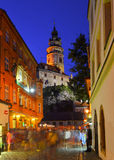 In night street. Night life in the streets of Czech Krumlov Royalty Free Stock Image