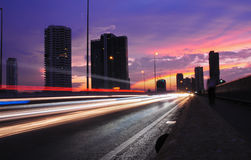 Night street with light trails. Night traffic on the bridge with light trails Stock Photography