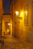 Night street in Mala Strana, Prague, Czech Republic Stock Image