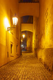 Night street in Mala Strana, Prague, Czech Republic. Narrow cobbled street of the old town at night in Mala Strana, Prague, Czech Republic Royalty Free Stock Photography