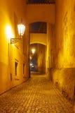 Night street in Mala Strana, Prague, Czech Republic royalty free stock photography