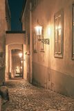 Night street in Mala Strana, Prague, Czechia Stock Image