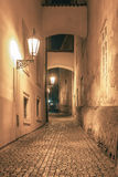 Night street in Mala Strana, Prague, Czechia Royalty Free Stock Photography