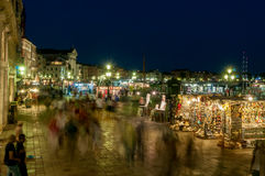 Night street market at San Marco, Venice. Royalty Free Stock Photography