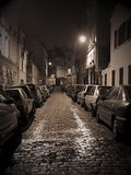 Night street on Montmartre. I called this photo Long way. Montmartre, Paris Royalty Free Stock Photography