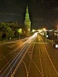 Night street in Moscow/Russia. View from the top to the street in Moscow. Night long exposure shot stock photo