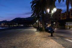 Night street near coastline ofSanta Margherita town, Italy stock photos