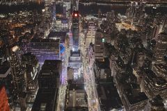 Night street in New York. View from the tower on the lights of New York at night. Manhattan Royalty Free Stock Photos