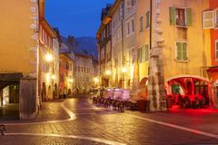 Night street in Old Town of Annecy, France stock image