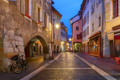 Night street in Old Town of Annecy, France royalty free stock images