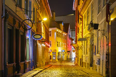 Night street in the Old Town of Riga, Latvia Royalty Free Stock Photography