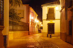 Night street in Old Town of Ronda, Spain Stock Photography