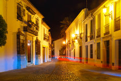 Night street in Old Town of Ronda, Spain Stock Images