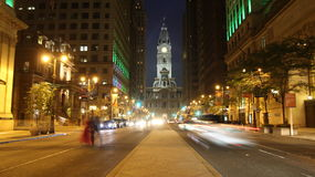 Night street of Philadelphia. Vibrant colorful background Stock Photos