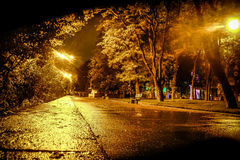 Night street after rain Stock Photo