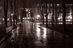Night street in the rain Stock Photos