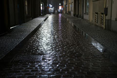 Night street in rainy weather in Ostend, Belgium. 2016 royalty free stock photography