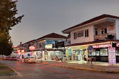 Night Street resort village in Turkey tourist shops. Stock Images