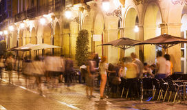 Night street with restaurants in old european city Stock Photography