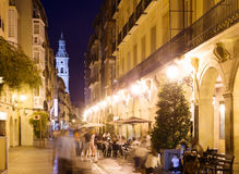 Night street with restaurants in old spanish city Stock Image