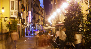 Night street with restaurants in old spanish city. Logrono Stock Photography