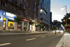 Night street scene in Bucharest old city, on Calea Royalty Free Stock Photography
