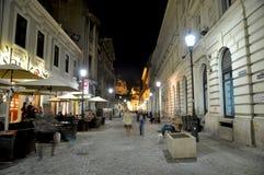 Night scene. Night street scene in Bucharest old city, time lapse photo - 18.10.2012 Royalty Free Stock Photos