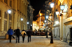 Night scene. Night street scene in Bucharest old city, time lapse photo - 18.10.2012 Stock Image