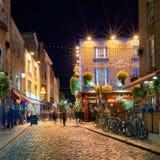 Night street scene in the Dublin, Ireland Temple Bar Stock Photo