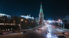 Night street scene in Moscow stock video