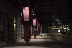 Night street. Night scene near Antwerp central railway station. Light^ road and nice atmosphere royalty free stock image