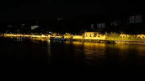 Night Street scene in Tournon France seen from river cruise ship. On Rhône river Stock Photography
