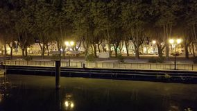 Night Street scene in Viviers France seen from river cruise ship. On Rhône river Stock Photo