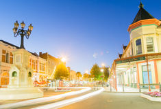 Night street scenes in city Wanganui Royalty Free Stock Image