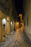 Night street, Scicli, Sicily, Italy. A night view of a street in the village of Scicli, Sicily. Photo taken on: September, 2016 stock photos