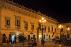 Night street, Scicli, Sicily, Italy Royalty Free Stock Photo