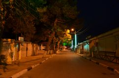 Night street by the sea. royalty free stock images