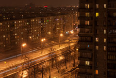 Night street in sleeping quarters. View from a height on a street at night in sleeping quarters Stock Images