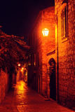 Night street at small Adriatic town. Stari Grad, Hvar island, Croatia Stock Image