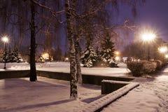 Night street with snow Stock Photo