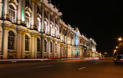 Night street in St. Peterburg. Hermitage Royalty Free Stock Photos