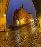 Night street in Stockholm, Sweden stock photography